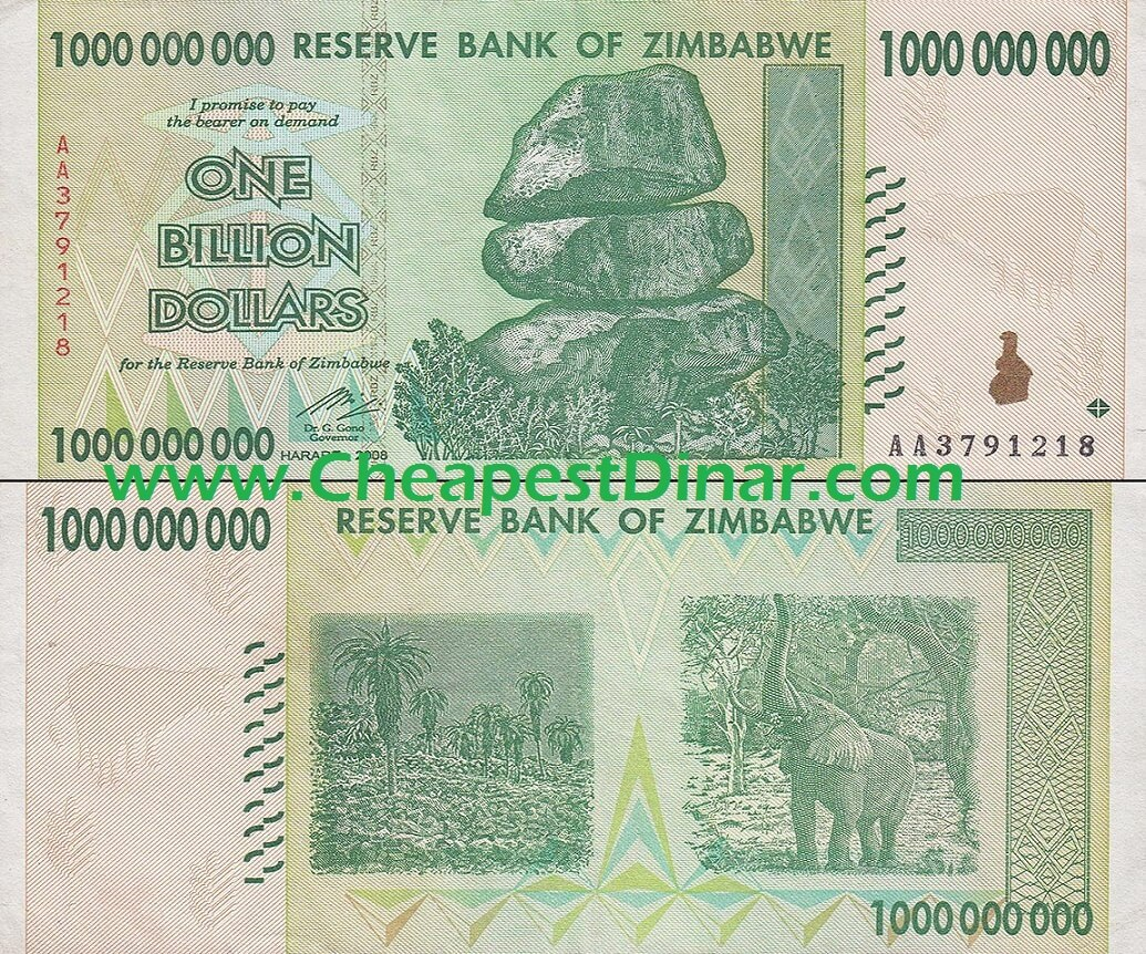 10 Billion Zimbabwe Dollars - 10x 1 Billion ZWD
